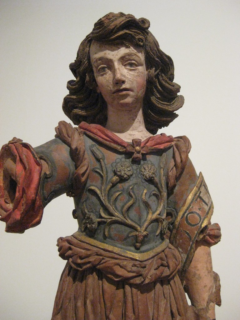 Unknown Portuguese sculptor. Saint Gabriel (c. 1675) Polychrome statue. Museum of Ancient Art, Lisbon.