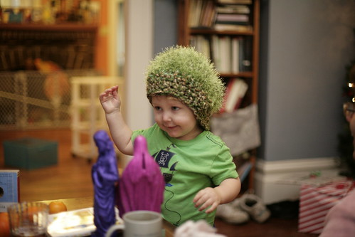 Joe in crocheted hat.