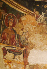 Circle of the Master of Pedret, The Wise and Foolish Virgins (left detail with wise virgin and Christ)