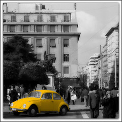 YeLLoW VW... (poly_mnia) Tags: friends people bw white black color colour cars film colors car yellow statue vw volkswagen geotagged blackwhite colours friendship beetle athens greece analogue 1973 stadiou  dearflickrfriend merhaba merhb  kolokotronis  theodoroskolokotronis  esperiapalacehotel