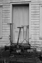 Lawnmower still life at Ayres/Knuth farm in Denville, NJ (albionphoto) Tags: blackandwhite stilllife usa tractor festival nj lawnmower ayres morriscounty denville ayersknuth ayresknuth