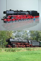 Lego BR01-1075 compared to the real deal (Johan_vd_Heuvel (Teddy)) Tags: city train town lego engine steam locomotive moc 1075 br01 br011075