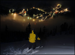 Return to Stevens Pass from Skyline Lake (Gil Aegerter) Tags: nightphotography snow nikon skiing skiresort manual nikkor washingtonstate telemark stevenspass 20mmf35ais elitephotography gilaegerter nikon20mmf35ais