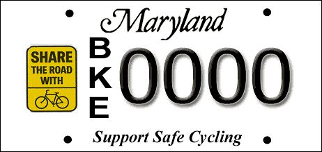 Maryland Share the Road license plate