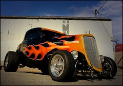 Ford With Flames (greenthumb_38) Tags: black ford flames rubber tires chrome hotrod coupe huntingtonpark nickalexander threewindowcoupe threewindow jeffreybass