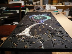 A Spiritual Night in a Desired - before grouted - in memory of my friend Edith (Mosaikstall) Tags: shells black glass germany mirror beads mosaic slate flint porcelain spirituell unglazedceramics handforgedheadsofthearrow lyingeight