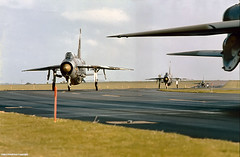 RAF Binbrook, Lincolnshire, 1981 (Lady Wulfrun) Tags: october aircraft jets attack lincolnshire planes 1981 lightning fighters 1980s takeoff defence raf coldwar airbase taxing f6 englishelectric lincs rafbinbrook jetaircrafter