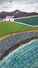 Ewyn gwyn y mr (Valriane Leblond) Tags: sea chimney mer house mountain art wales montagne painting coast seaside folk smoke hill cottage wave cte peinture pebble foam maison vague colline myst embrun mr cume cerrig glan galet naf niwl borddemer paysdegalles nave tonnau arlanymr cyngorcelfyddydaucymru valerianeleblond