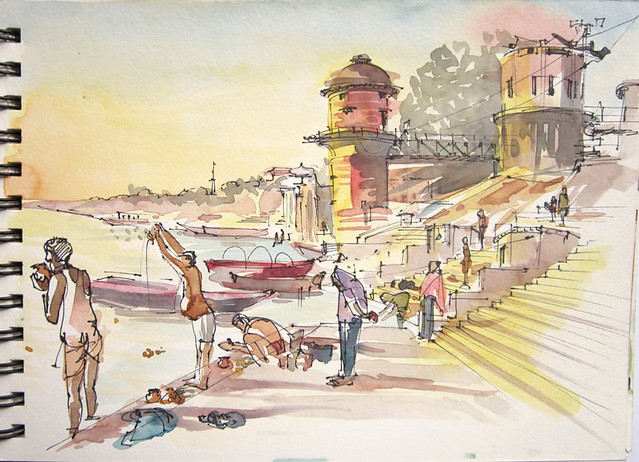 Morning on the Ghats, Benaras, India