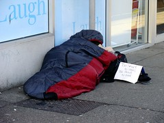 Too Smart to Steal (knightbefore_99) Tags: poverty street canada proud vancouver bag sad sleep granville south homeless beggar sidewalk hook too harsh