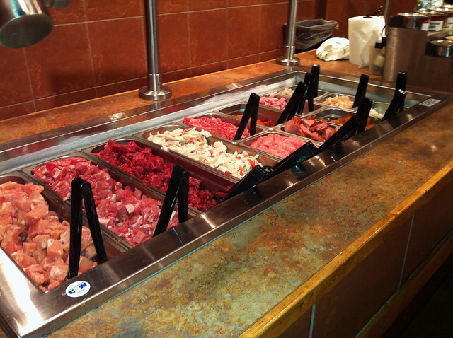The protein bar at Genghis Grill, Memphis, Tenn.