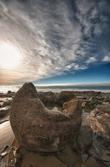 Hatched (-Nicole-) Tags: ocean newzealand sky beach water rock clouds iso100 sand nikon cloudy sigma overcast boulder nz otago f11 hdr moeraki 10mm d90 sigma1020mmf4056 nikond90 nikhdrefexpro file:name=dsc9652hdrtif