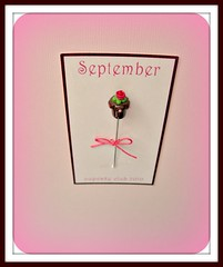 september ptmc chocolate scalloped cupcake pin topper (Pinks & Needles (used to be Gigi & Big Red)) Tags: cupcake ptmc gigiminor pintoppers pintopper