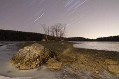 Lake Kenoza Island (Jeremiah True) Tags: longexposure lake lightpainting true canon stars ma frozen timelapse massachusetts 7d photomerge statistics jeremiah 1022mm startrails haverhill canon7d jtrue