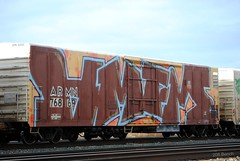 AMFM Wholecar (208 Bench) Tags: art train graffiti crew graff freight reefer amfm wholecar armn