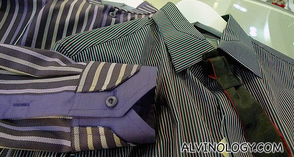 Close-up on the cuffs and collar detailing for some of the sample shirts