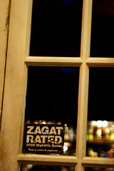 Zagat Rated sticker on a door window