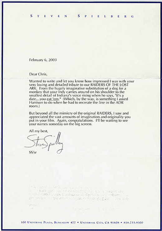 Write a letter to steven spielberg