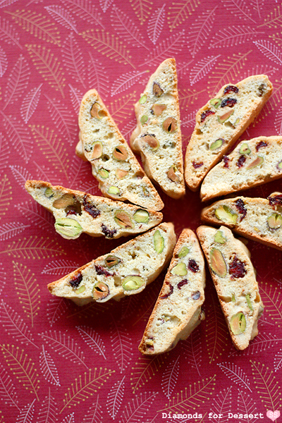 Diamonds for Dessert: Cranberry Pistachio Biscotti