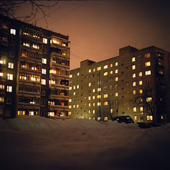Our ghetto (Anton Novoselov) Tags: houses winter snow cold 6x6 film home night rolleiflex buildings square point evening town frost view cloudy kodak russia district low flats 400 medium format 35 portra vc appartments e2 autaut