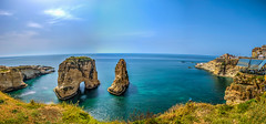 Panoramic Raouche Rock, Lebanon (Paul Saad) Tags: beirut raouche lebanon hdr blue sky nikon sea beach coast outdoor water pigeonsrock pano panoramic panorama clouds