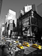 Times Square (Dru Dodd) Tags: new york dru white black colour yellow cab taxi olympus andrew selective dodd e510