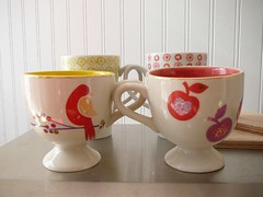 Anthropologie Teacups (Fallon Akers) Tags: apple kitchen coffee birds colorful tea cups teacups anthropologie aprons