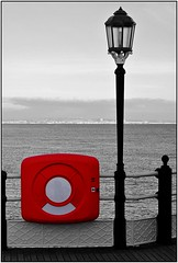 Safety First (Azurian Vista) Tags: red white black color colour sussex mono pier worthing nikon selective d3000 wext