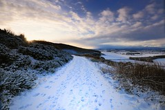 Walk To The Sunset. (stonefaction) Tags: winter snow ice landscape scotland scenery frost perthshire loch faved wintry lairds couparangus tullybaccart