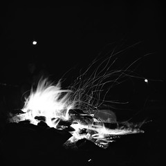 Scarborough Campfire (RobSalmon) Tags: camping summer england white black 120 6x6 robert square coast diy long exposure skateboarding yorkshire north salmon warmth rob east campfire bronica dev medium format mf scarborough sq sqa skateboarders id11