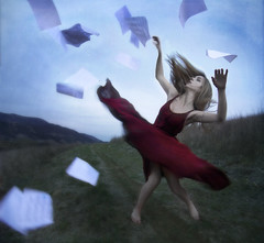 A Beautiful Release (Leah Johnston) Tags: wind fineart blowing hike malibu papers twirl reddress blurb myfeetweresofreakingcoldicouldntwalkafterthis iwishthefacewassharper poeticportraits
