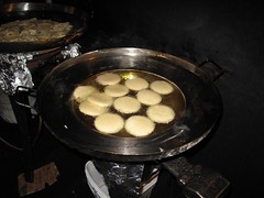 Gorditas cooking in the fryer