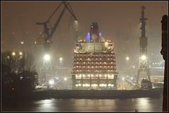 Queen Victoria (tim_t0665) Tags: light water night licht harbor dock nikon wasser ship nacht hamburg hafen schiff queenvictoria elbe d300 blohmvoss elbe17
