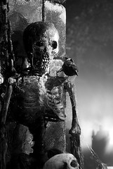 haunted graveyard (Larry H*) Tags: bw halloween monochrome graveyard night dark scary creepy horror haunting macabre