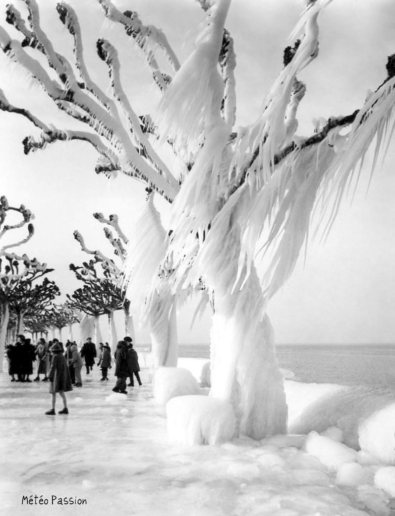 rives du lac Léman gelées à Evian par la bise glaciale début février 1956