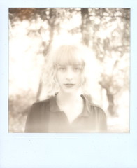 Shelbie in the Forest (Lou O' Bedlam) Tags: bw blackwhite griffithpark polaroidsx70 shelbie 12810 louobedlam lounoble impossibleprojectpx600uvfilm