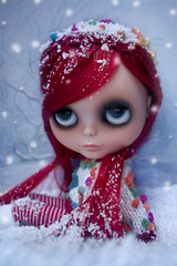 Snowing (erregiro) Tags: winter red white snow magazine landscape nose carved eyes doll eyelashes ooak makeup hairdo lips blythe custom eyeshadow lipgloss eyelids erregiro