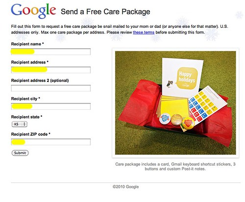 Free Care Package from Google