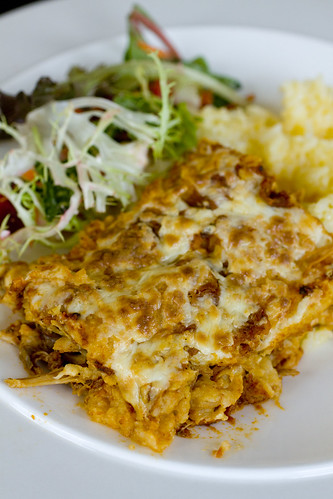 Pork Enchiladas with rice and salad