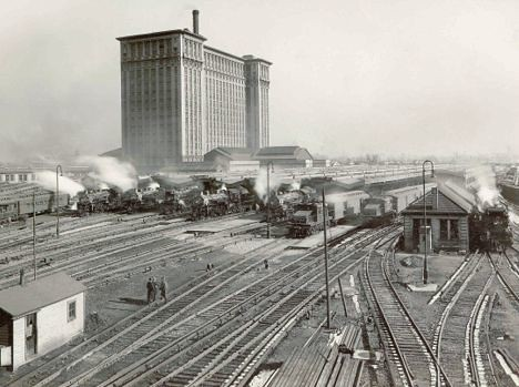 Michigan Central Station with trains