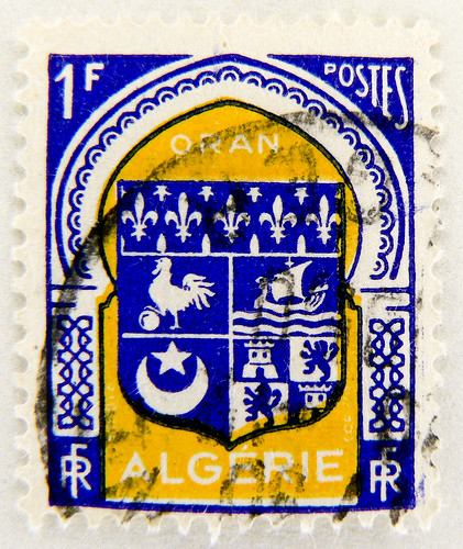 beautiful stamp Algerie Oran 1 F Briefmarke armorial bearings hatchments french regionalstamp timbre postes postage 1F Franc Algerie Algerien Republique Francaise France (chicken / rooster, boat, moon, castle)