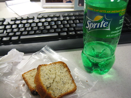 almond poppyseed bread, sprite