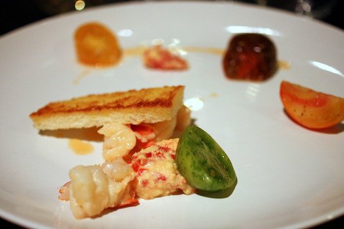 lobster pimento cheese crouton chive tomato