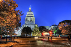 Texas Capitol Tree and Menorah (Evan Gearing (Evan's Expo)) Tags: christmas house tree bicycle austin nikon texas tx south police capitol congress bicyclist 18200 legislature hdr senate menorah representatives d300s evangearingphotography evansexpo