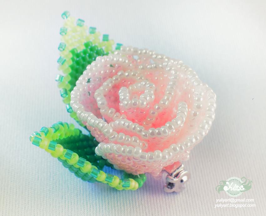 Pink beaded rose