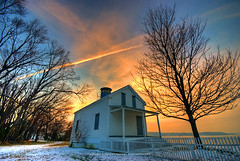 House of The Rising Sun (BigGolf) Tags: winter lighthouse house snow tree alexandria silhouette sunrise virginia bravo houseoftherisingsun jonespointlighthouse jonespointpark