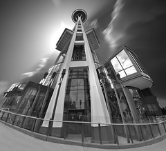 Space Needle, Seattle, Washington State, USA (Tomasito.!) Tags: world urban panorama usa blur building tower lamp beautiful lines architecture america concrete washington nikon day post cloudy unique steel space perspective surreal tourist best needle spaceneedle tall unusual railing powerful futuristic seattlecenter radial touristspot 18105 d90 vertorama mygearandme mygearandmepremium mygearandmebronze mygearandmesilver mygearandmegold 1962worldfare