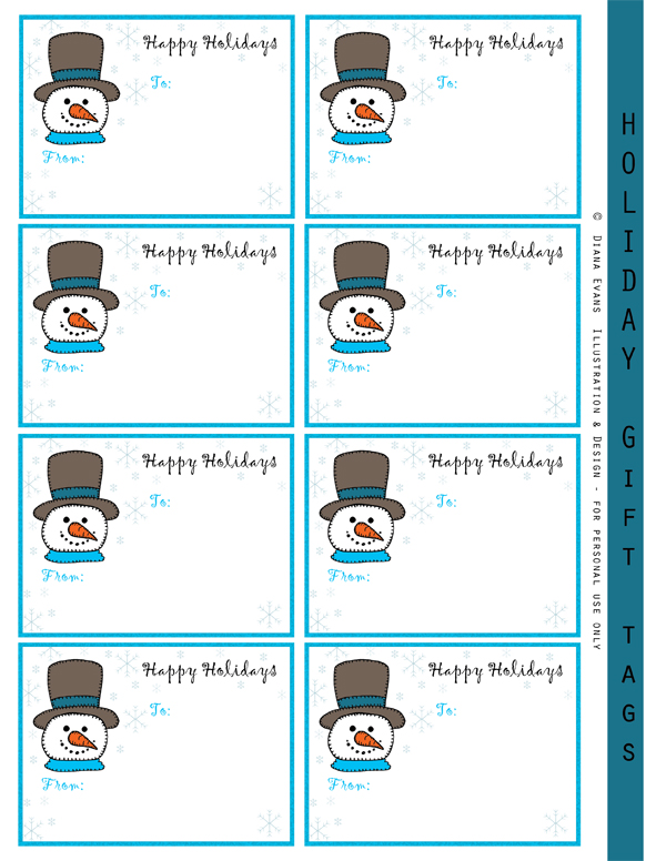 snowman gift labels-blog