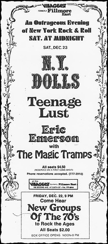 12/22 & 23/72 New York Dolls/Teenage Lust/Magic Tramps @ Village East, NYC, NY