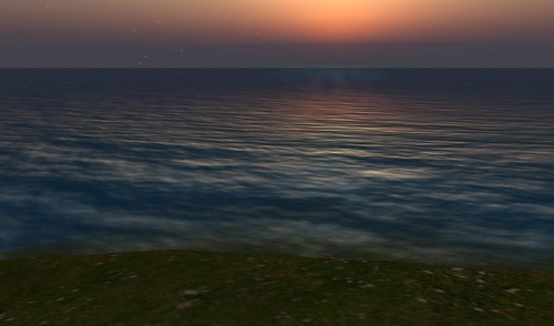 sunset in second life virtual world